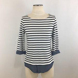 Market & Spruce Stitch Fix White/Navy Stripe Top